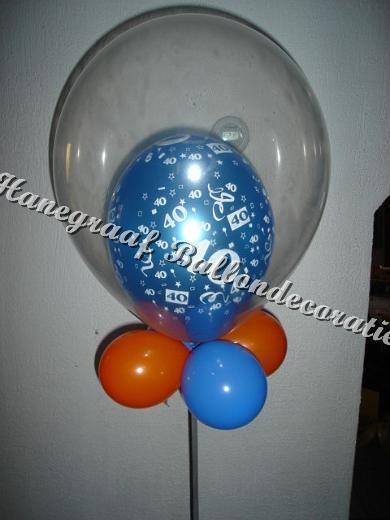 16) cijfer ballon in een doorschijnde ballon(met helium) € 11,50