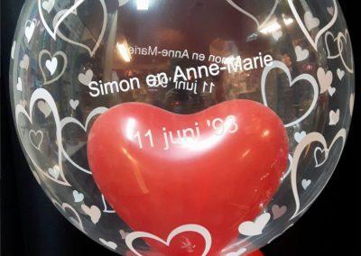 10) helium ballon eigen tekst erop laten maken € 15,00