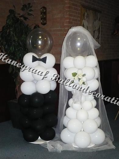 4) abstract ballonnen bruidspaar samen € 65,00