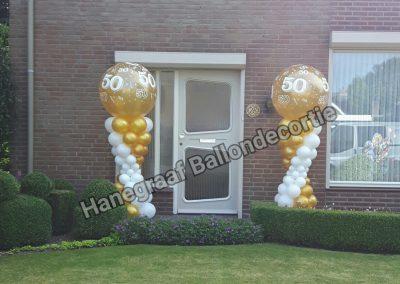 6)lage zandloper met grote topballon (2m hoog) €40,00 per stuk