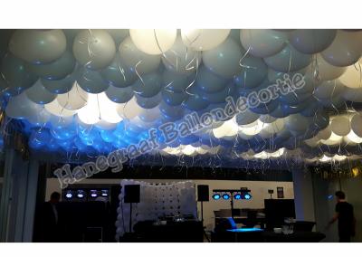 7) helium ballonnen tegen het plafon  ( op aanvraag)