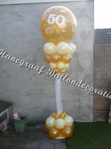 8) gouden pilaar 50 jarig huwelijk (2.5m hoog) €38,50